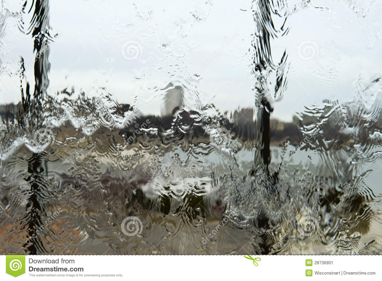 Abstract Rain Water on Glass Window Background Concept