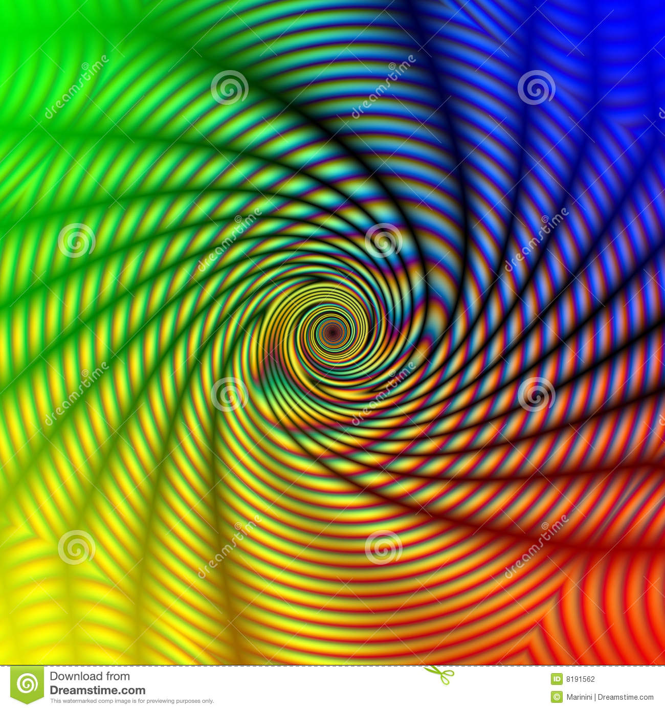 Abstract Rainbow Concentric Spiral Stock Photography