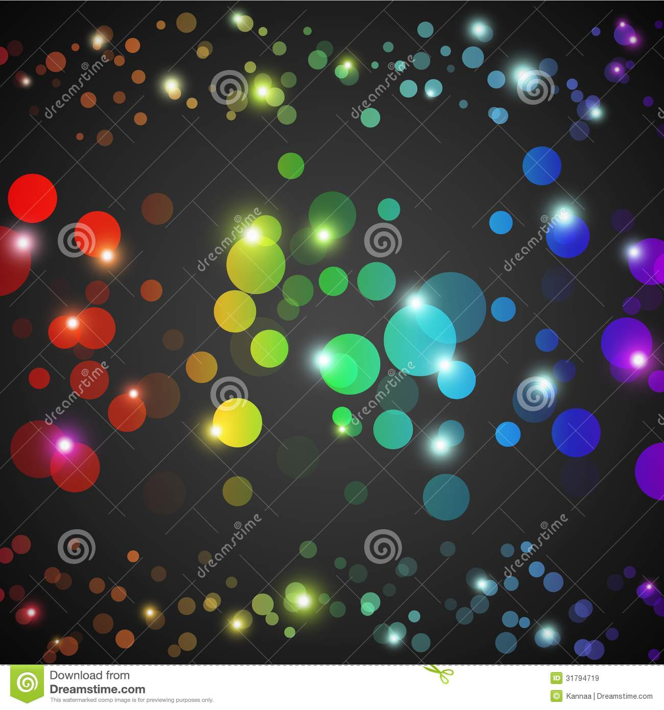 Abstract Rainbow Glowing Circles With Lights And Stock