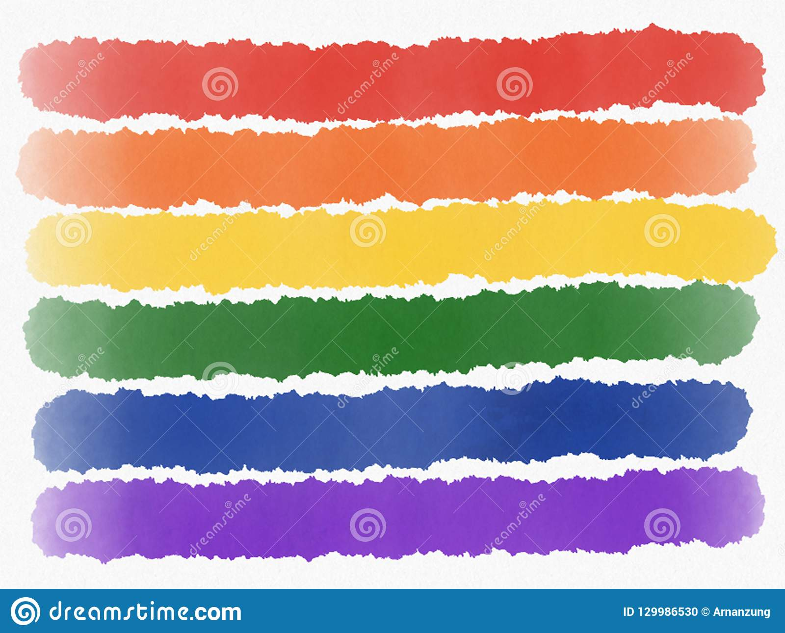 Abstract rainbow painting isolated. LGBT pride flag on white background. Watercolor illustration.