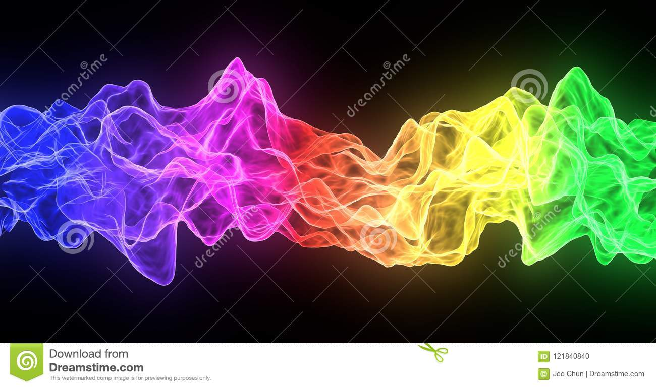 abstract rainbow smoke fire flow colorful on black