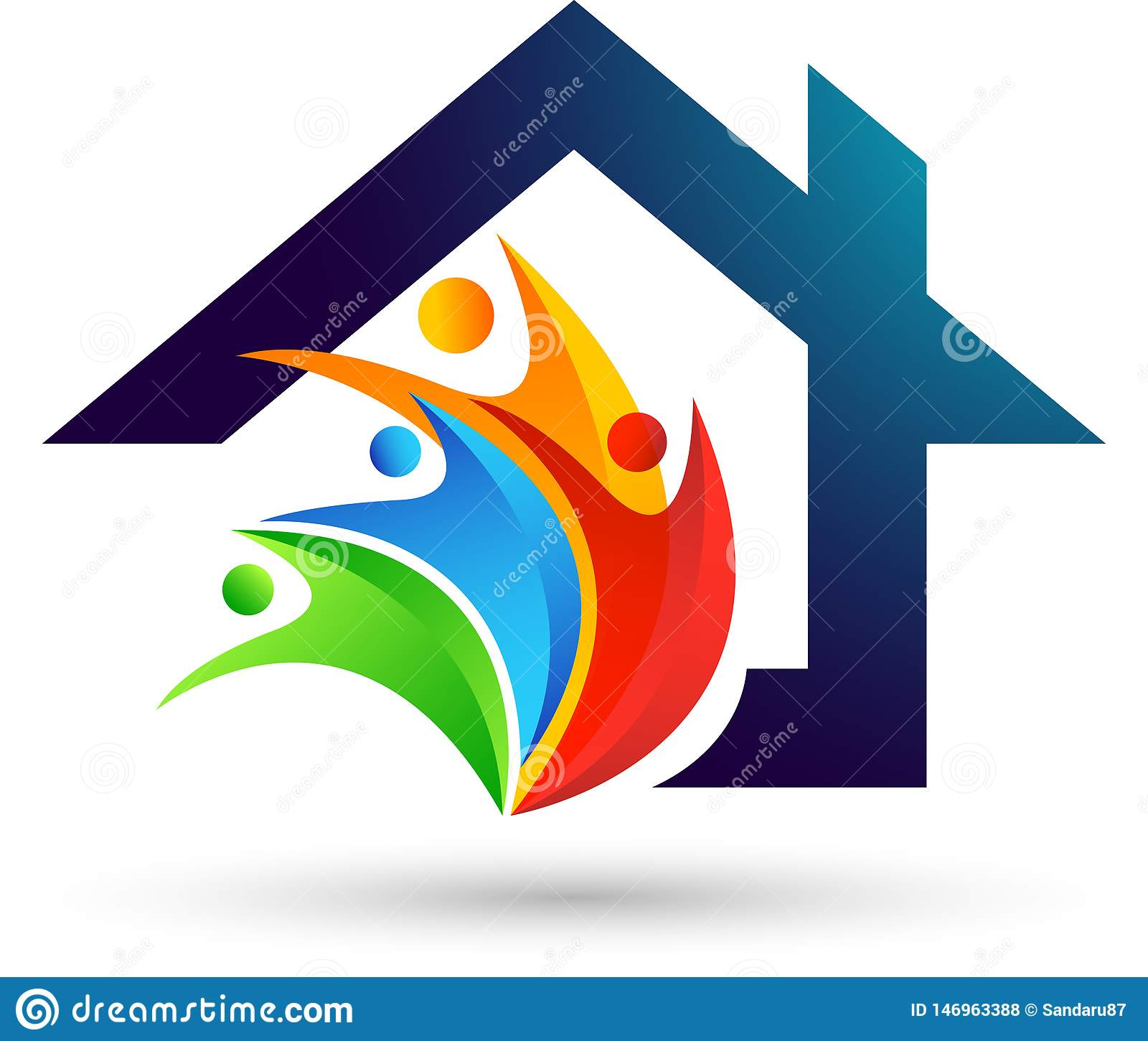 Abstract real estate people save House roof Happy family love care home logo vector element icon design vector on white background
