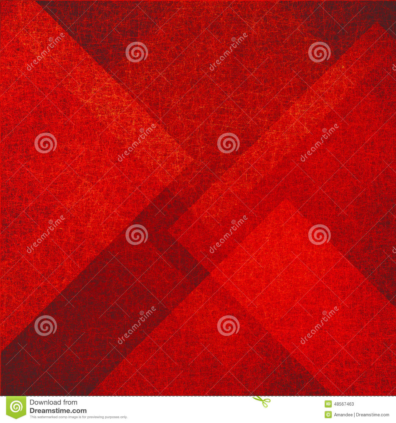 Abstract red background with triangle and diamond shapes in random pattern with vintage texture