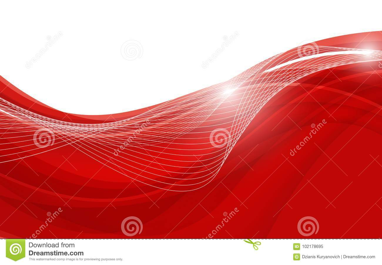 Abstract Red Background With Wave Vector Illustration Stock