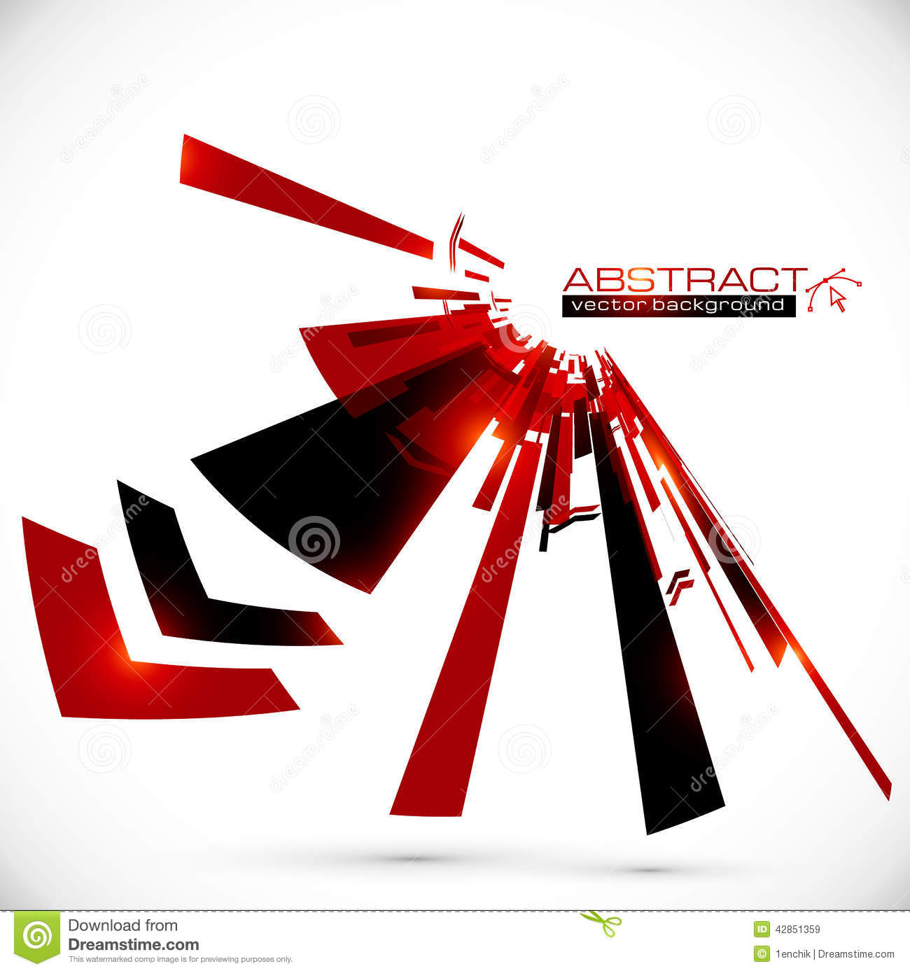 Abstract red and black shining lines background