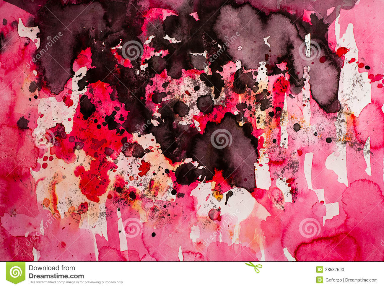 Abstract red drip painting