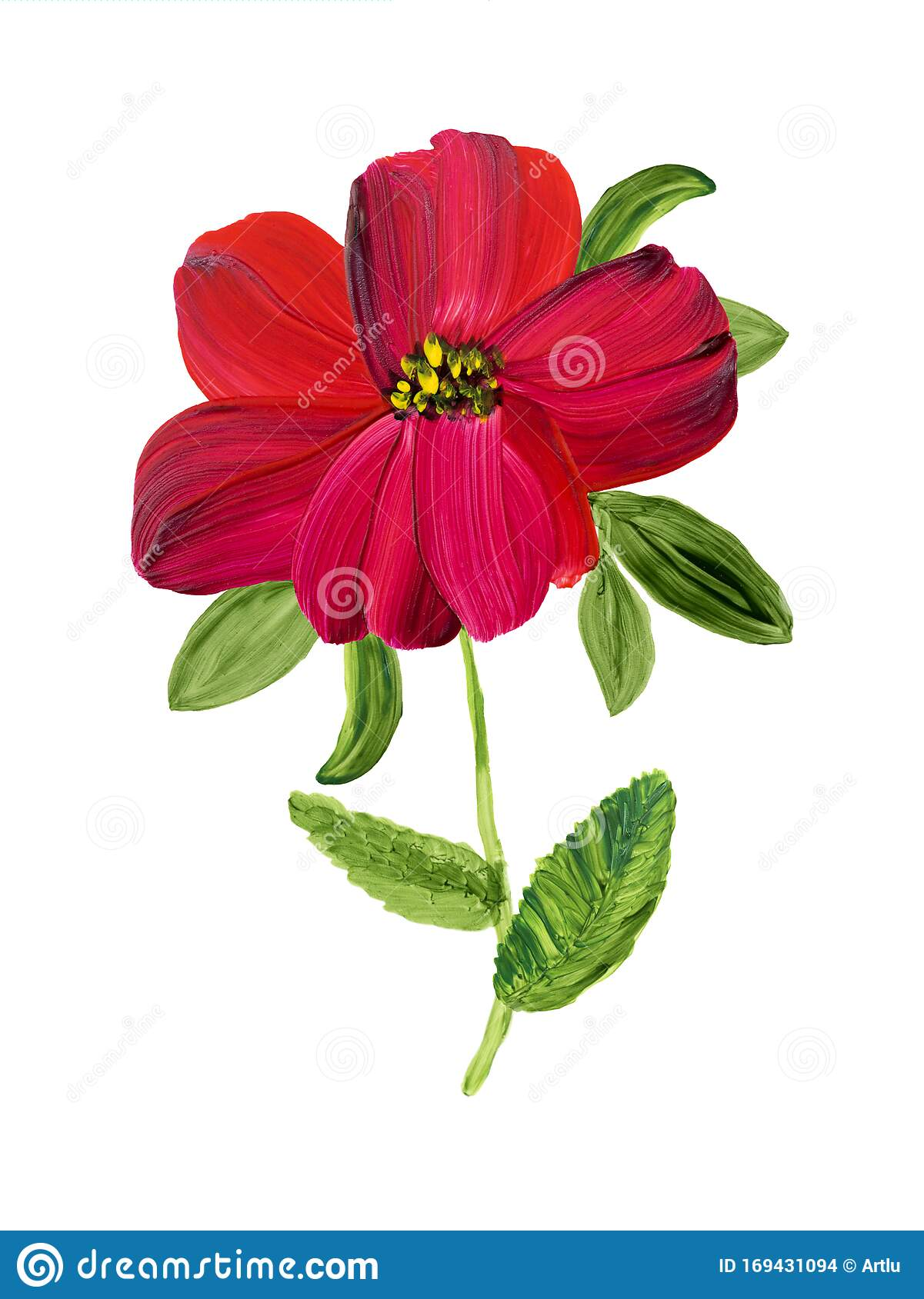Abstract Red Flower Painted In Acrylic Stock Illustration Illustration Of Backdrop Acrylic 169431094