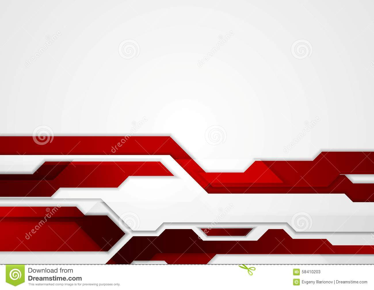 Abstract Red Geometric Tech Corporate Design Stock Vector