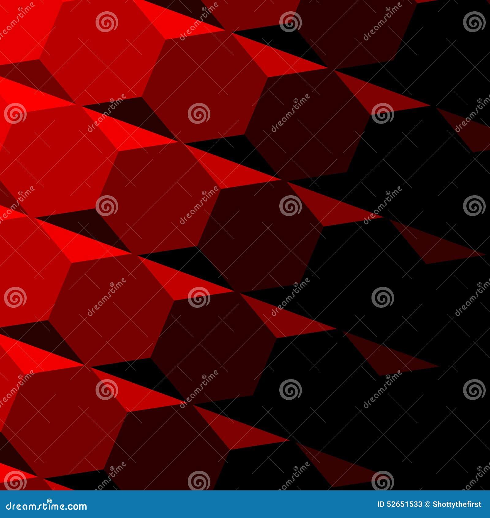 Abstract Red Geometric Texture. Dark Shadow. Technology Background Pattern. Repeatable Hexagon Design. Digital 3d Image. Tilt.