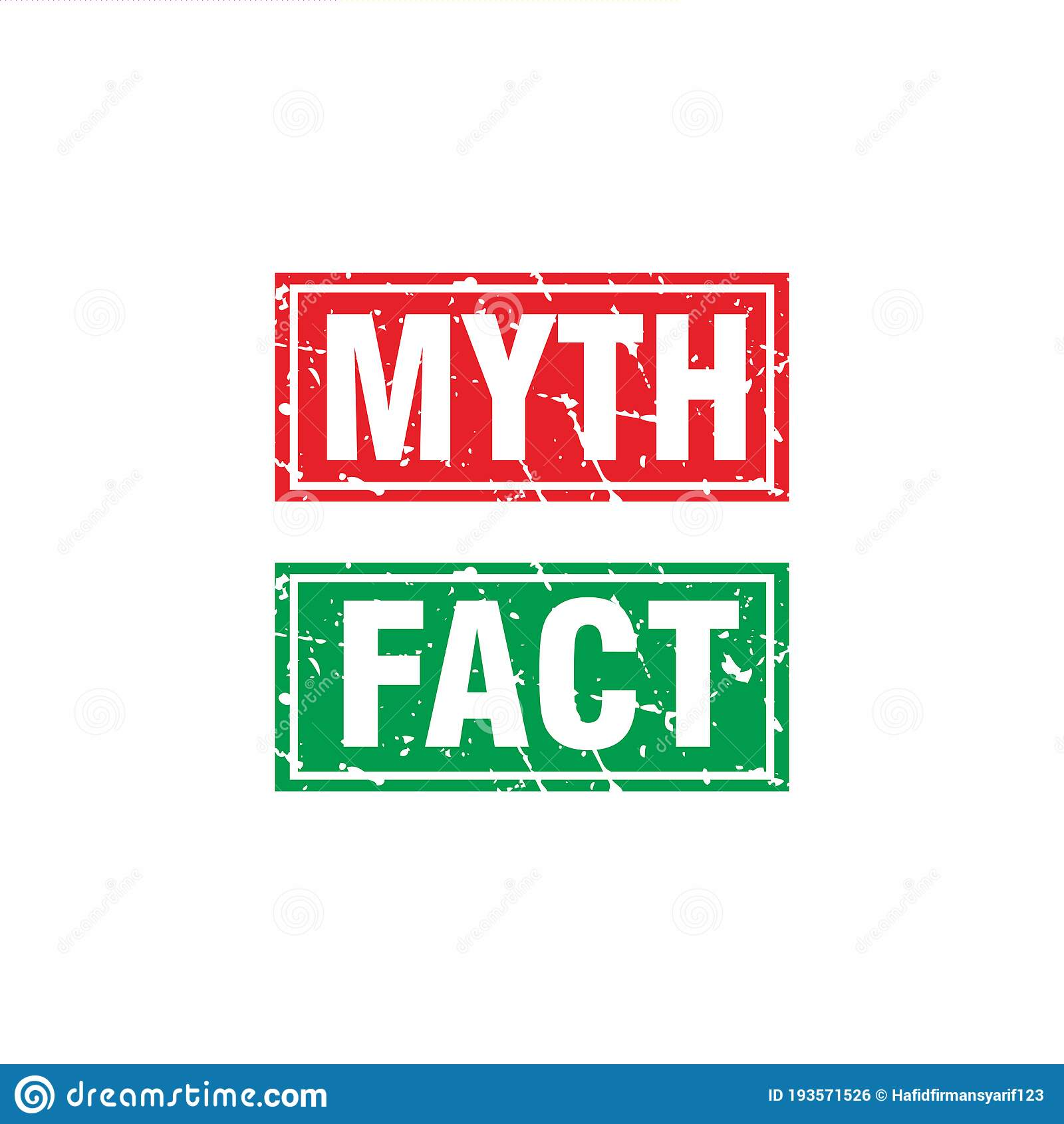Abstract Red Green Grunge Myth & Fact Rubber Stamps Sign ...