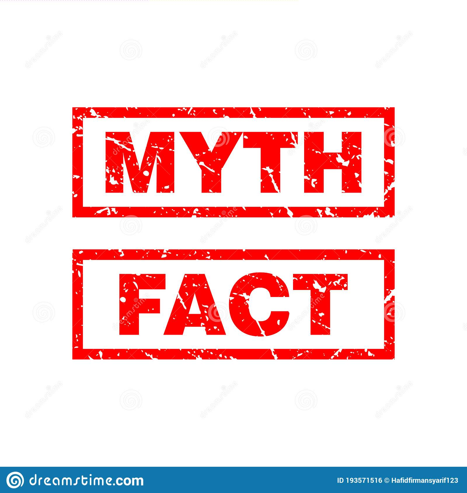 Abstract Red Grunge Myth & Fact Rubber Stamps Sign ...