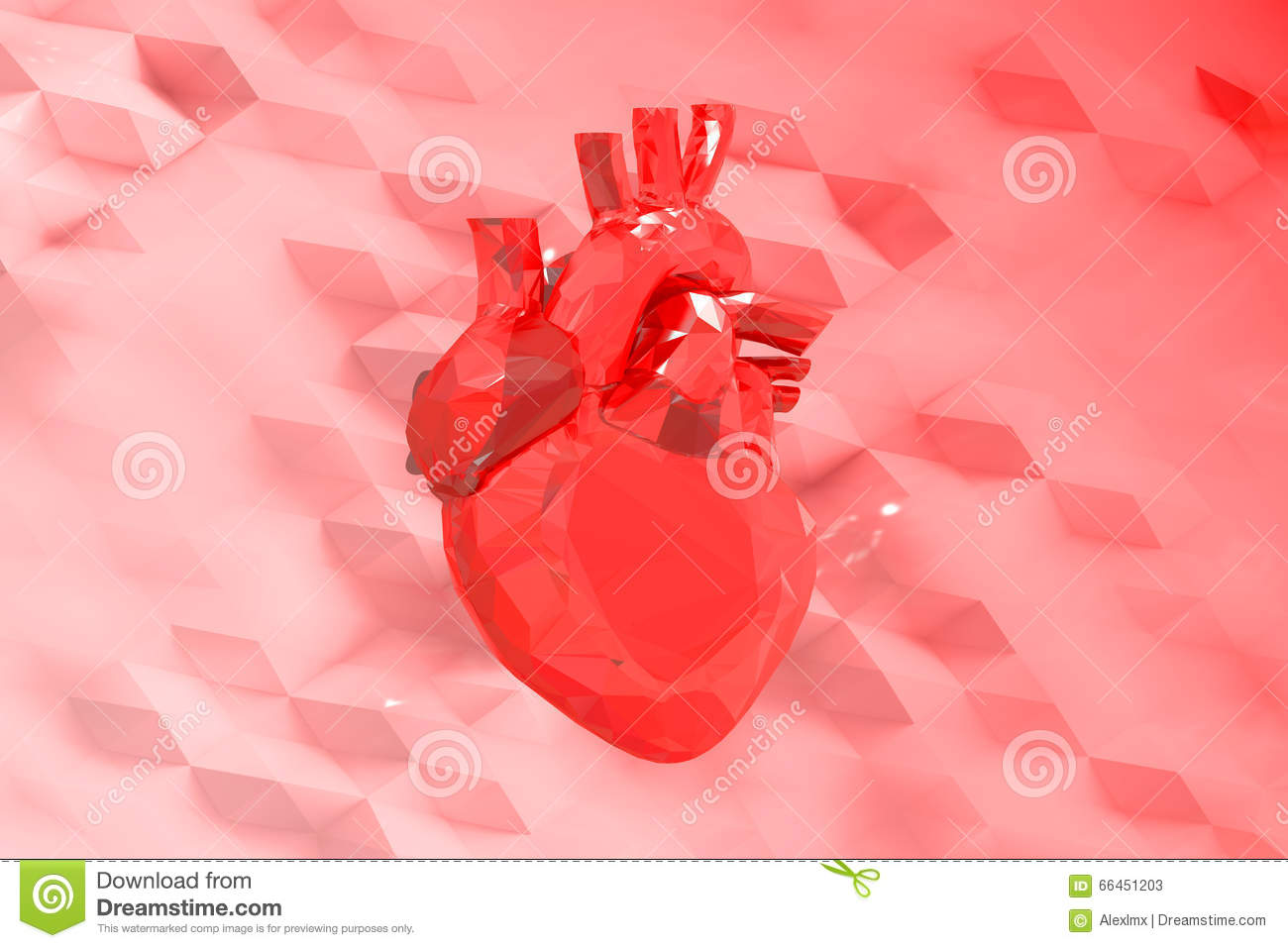 Abstract Red Low Poly Heart Stock Illustration