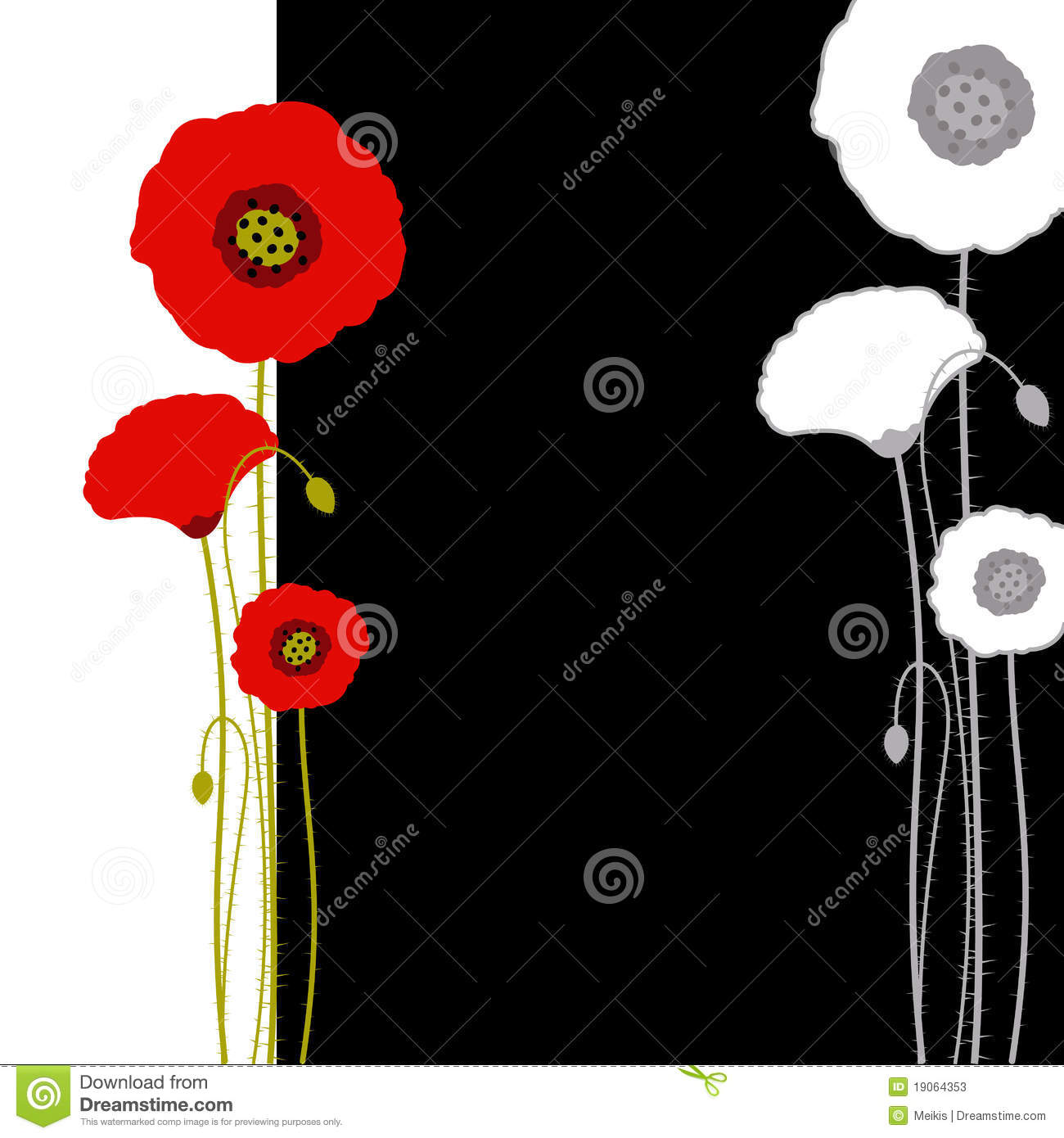 Abstract Red Poppy On ...