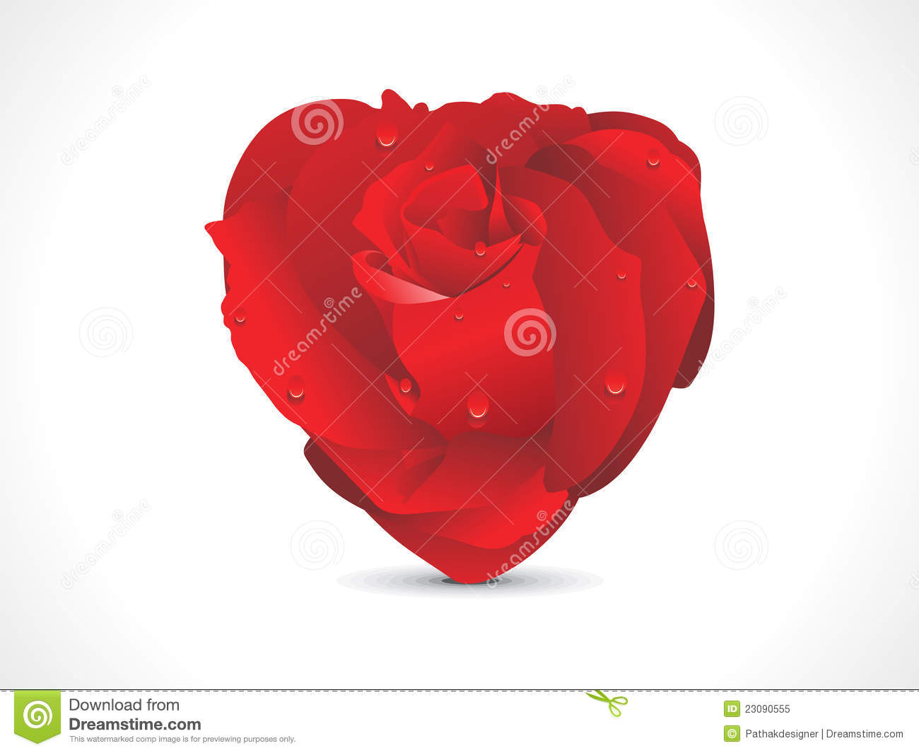 Abstract red shiny rose heart