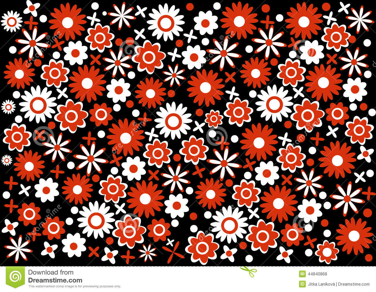 Abstract Red And White Flowers Background Stock Illustration