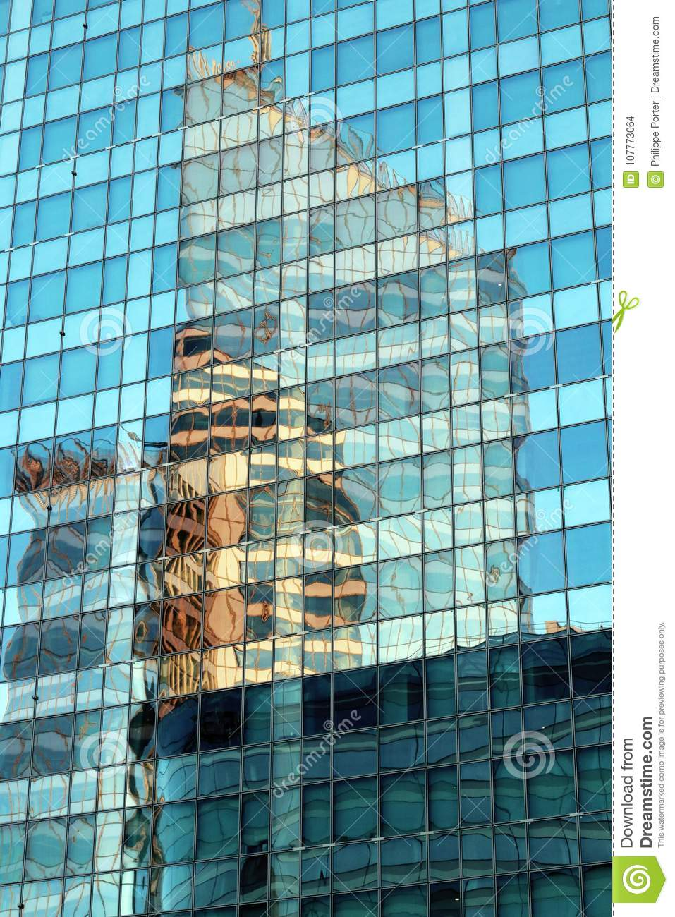 La defense glass facades abstract reflections in modern Offices building in Paris business district