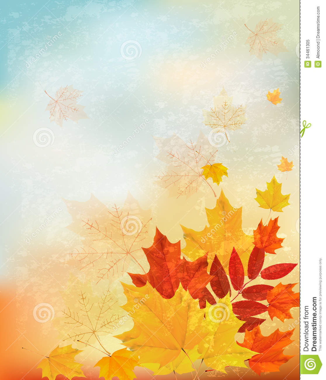 Abstract Retro Autumn Background For Your Design. Stock