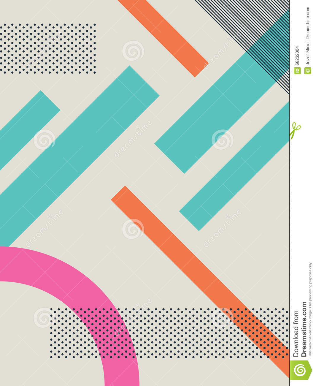 80s Design abstract retro 80s background with geometric shapes and pattern