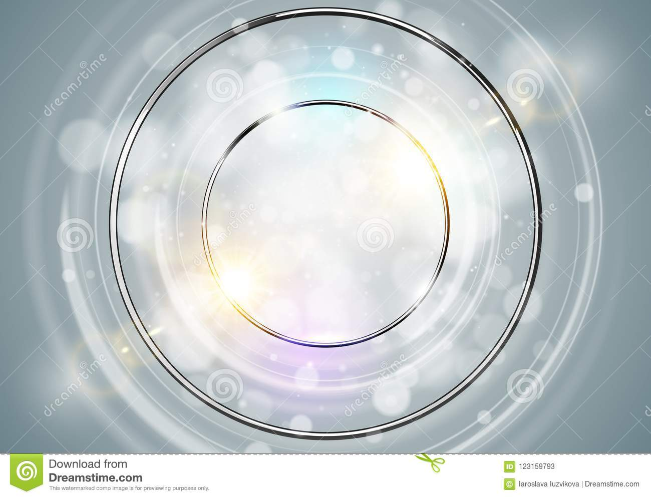 Abstract ring background. Metal chrome shine round frame with light circles and spark light effect. Vector sparkling glowing
