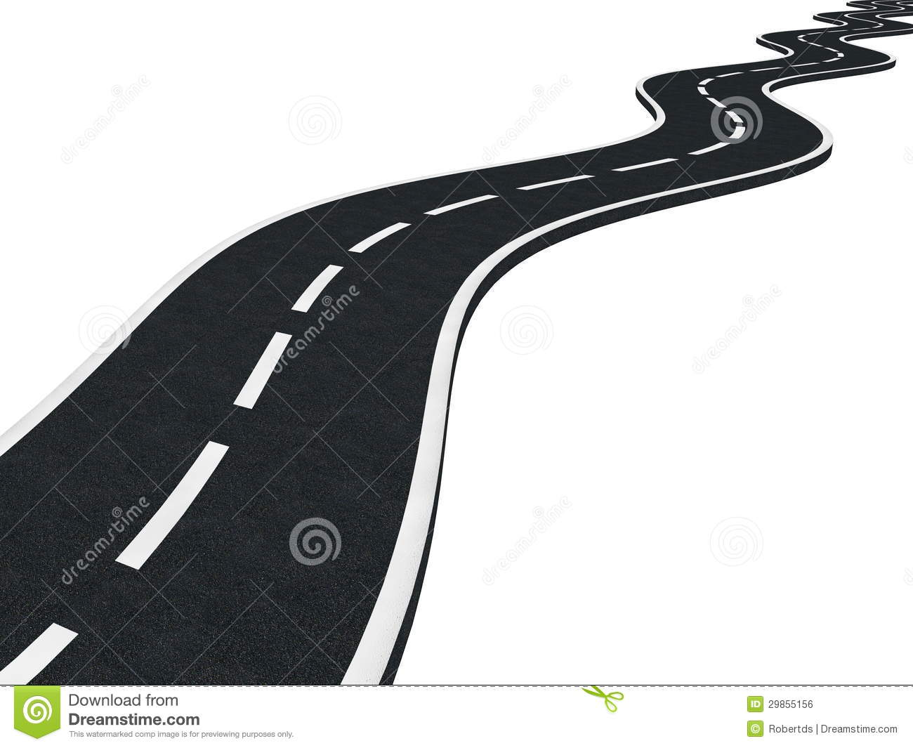 Winding Road Clipart Curved asphalt road isolated