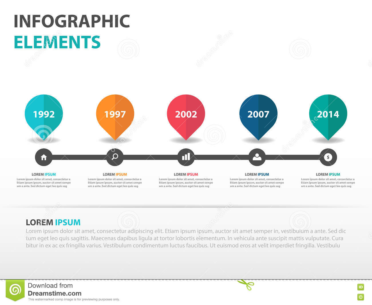 Abstract Roadmap Business Timeline Infographics Elements - Roadmap timeline template