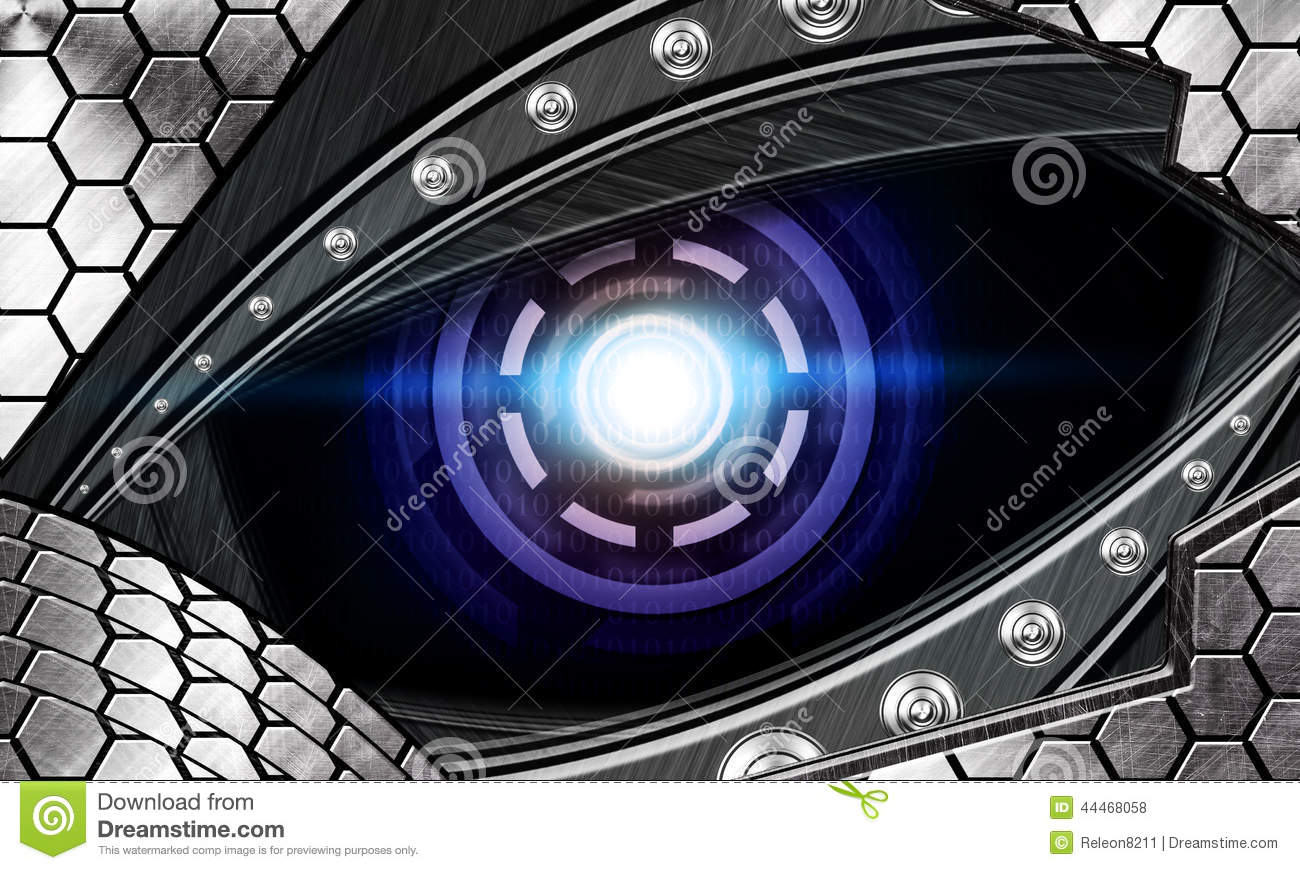 abstract robot eye stock photo image of black background