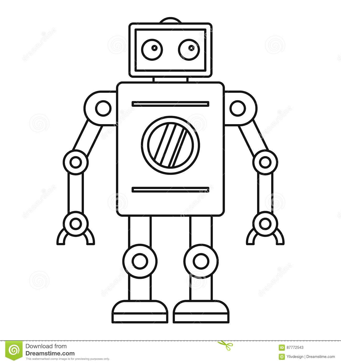 Abstract robot icon outline style cartoon vector for Decor outline