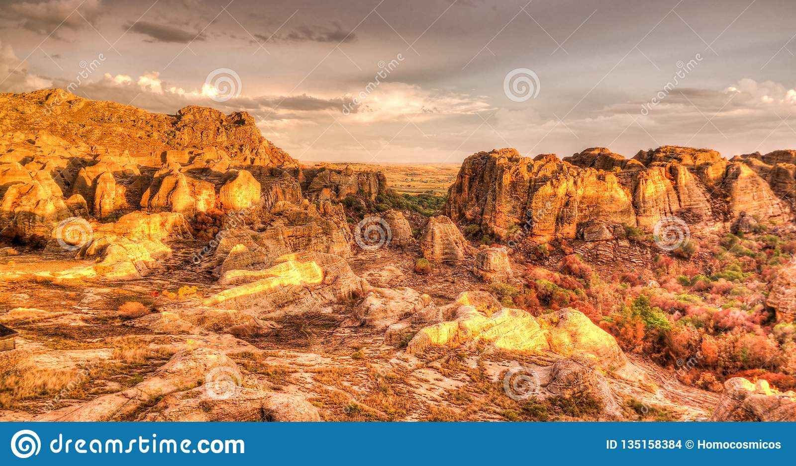 Abstract Rock formation in Isalo national park at sunset, Madagascar