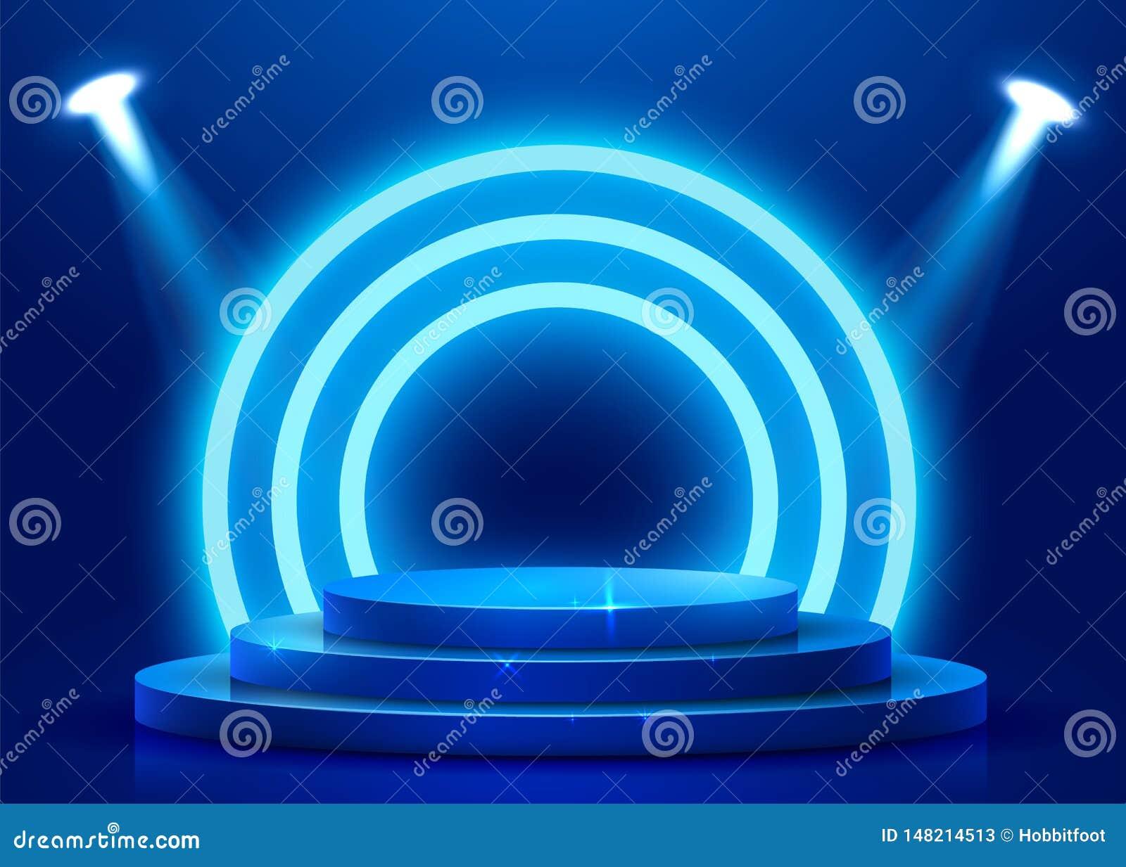 Abstract rond die podium met schijnwerper wordt verlicht Het concept van de toekenningsceremonie Stadiumachtergrond