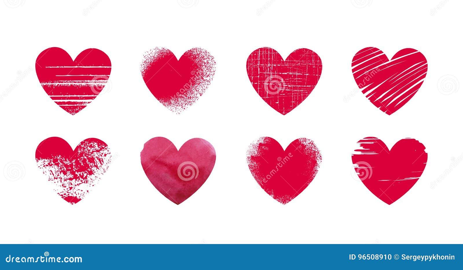 Abstract rood hart, grunge Vastgestelde pictogrammen of emblemen op thema van liefde, huwelijk, gezondheid, de dag van Valentine