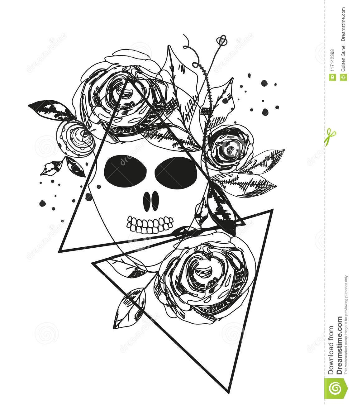 Abstract Rose Silhouette Skull Triangle Geometric Rose