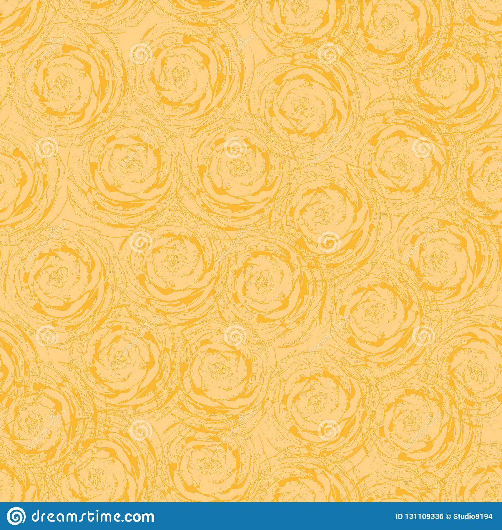 Abstract Roses Seamless Vector Background Orange Flowers Modern