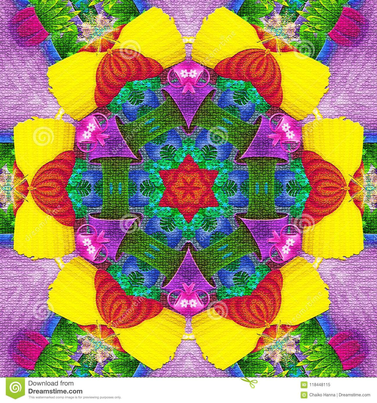 Abstract rosette kaleidoscope in brilliant green, blue, neon, yellow, red and magenta