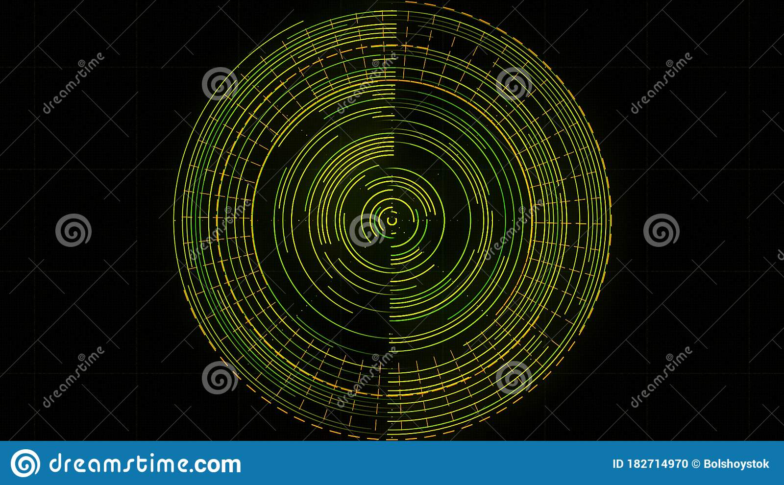 Abstract Rotating Radar On The Screen. Animation. Working Searching Program  With Spinning Circles Isolated On Black Stock Illustration - Illustration  of counter, overlapping: 182714970