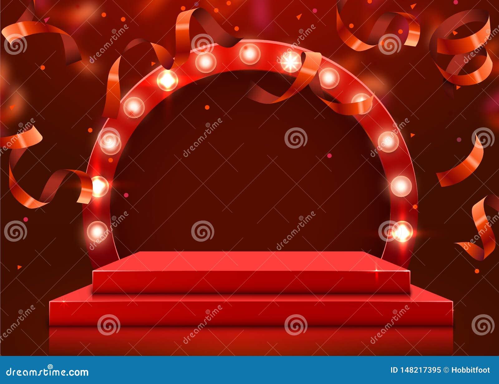 Abstract Round Podium Illuminated With Spotlight  Award