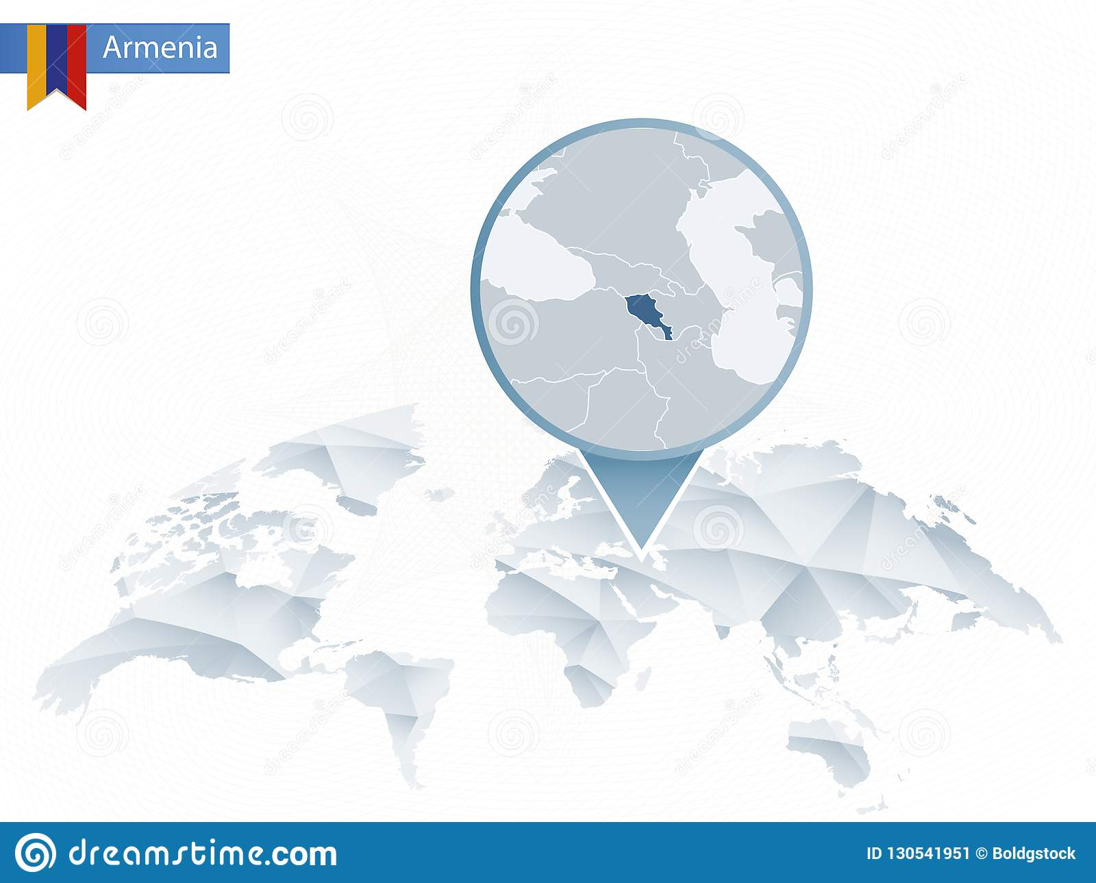 Abstract Rounded World Map With Pinned Detailed Armenia Map Stock