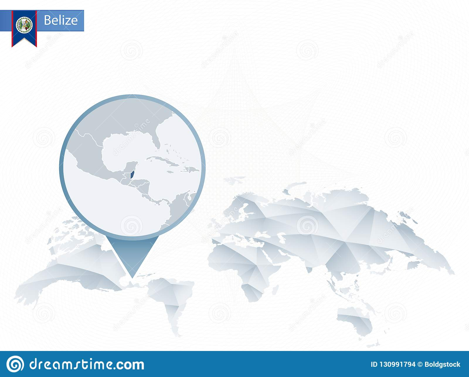 Abstract Rounded World Map With Pinned Detailed Belize Map Stock