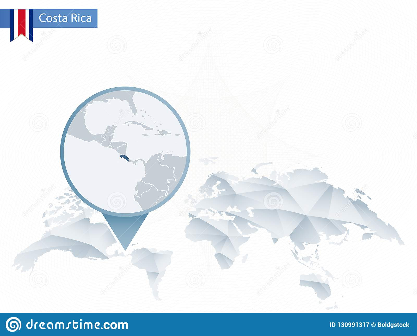 Picture of: Abstract Rounded World Map With Pinned Detailed Costa Rica Map Stock Vector Illustration Of America Capital 130991317