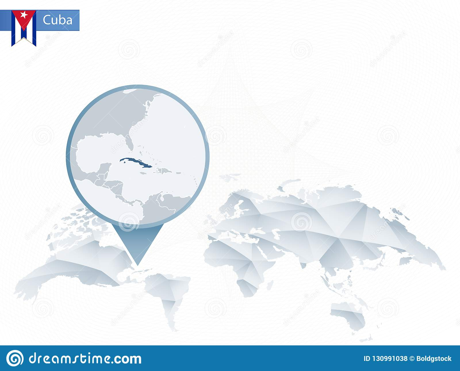 Abstract Rounded World Map With Pinned Detailed Cuba Map. Stock ...