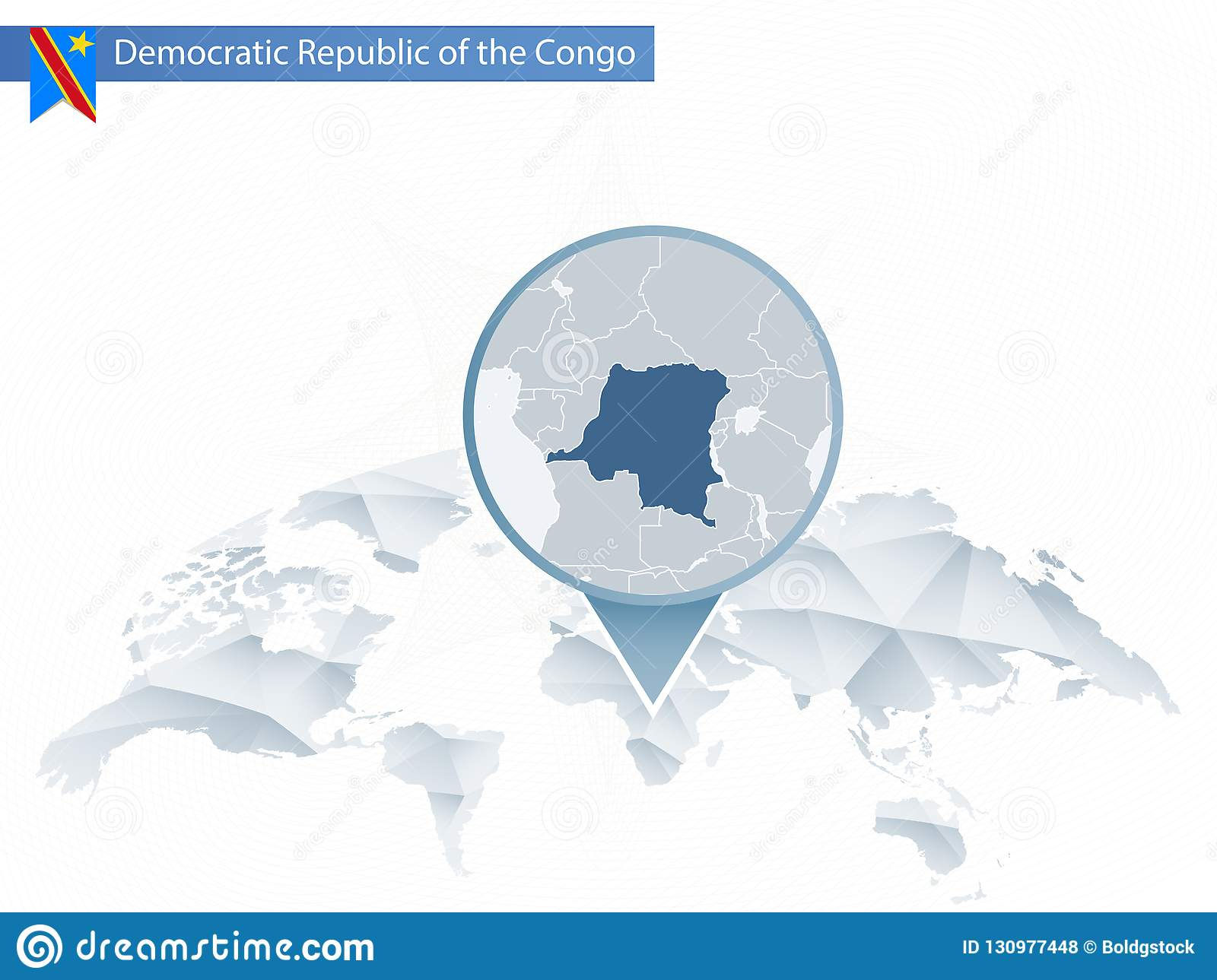 Democratic World Map.Abstract Rounded World Map With Pinned Detailed Democratic Republic