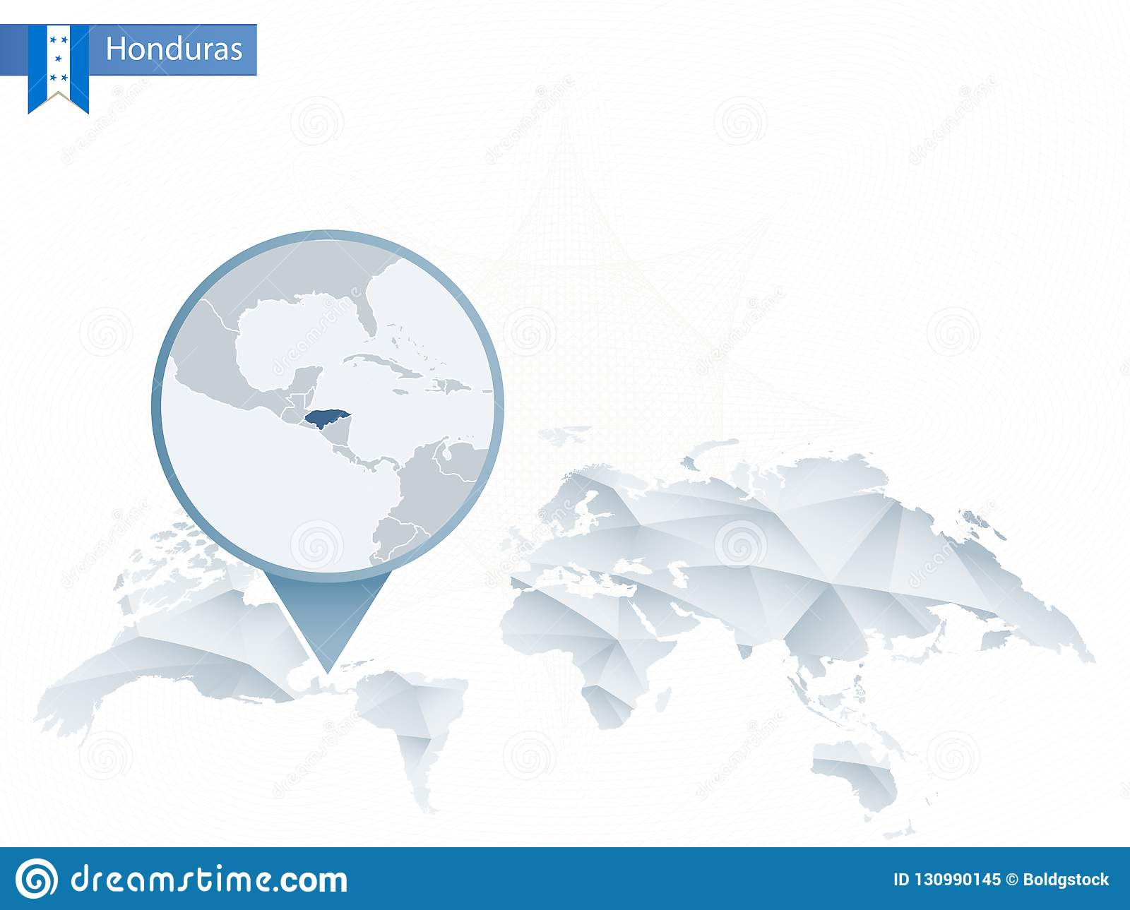 Abstract Rounded World Map With Pinned Detailed Honduras Map. Stock ...
