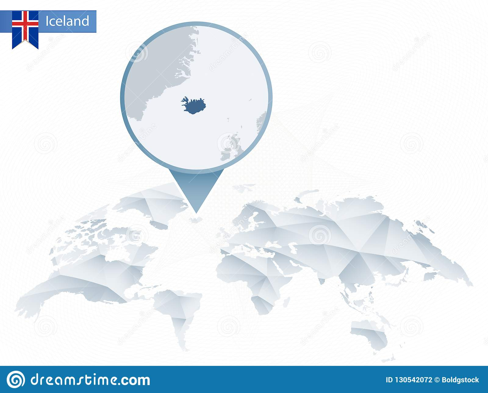 Abstract Rounded World Map With Pinned Detailed Iceland Map. Stock ...