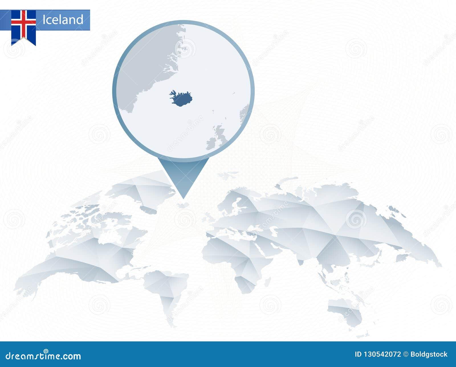 Abstract Rounded World Map With Pinned Detailed Iceland Map. Stock on kazakhstan world map, british isles world map, cape verde world map, faroe islands, lesotho world map, germany world map, new zealand, indonesia world map, antartica world map, guam world map, sri lanka world map, india world map, haiti world map, scotland world map, japan world map, ireland world map, ceylon world map, norway world map, western samoa world map, south korea world map, united kingdom, austria world map, panama world map,