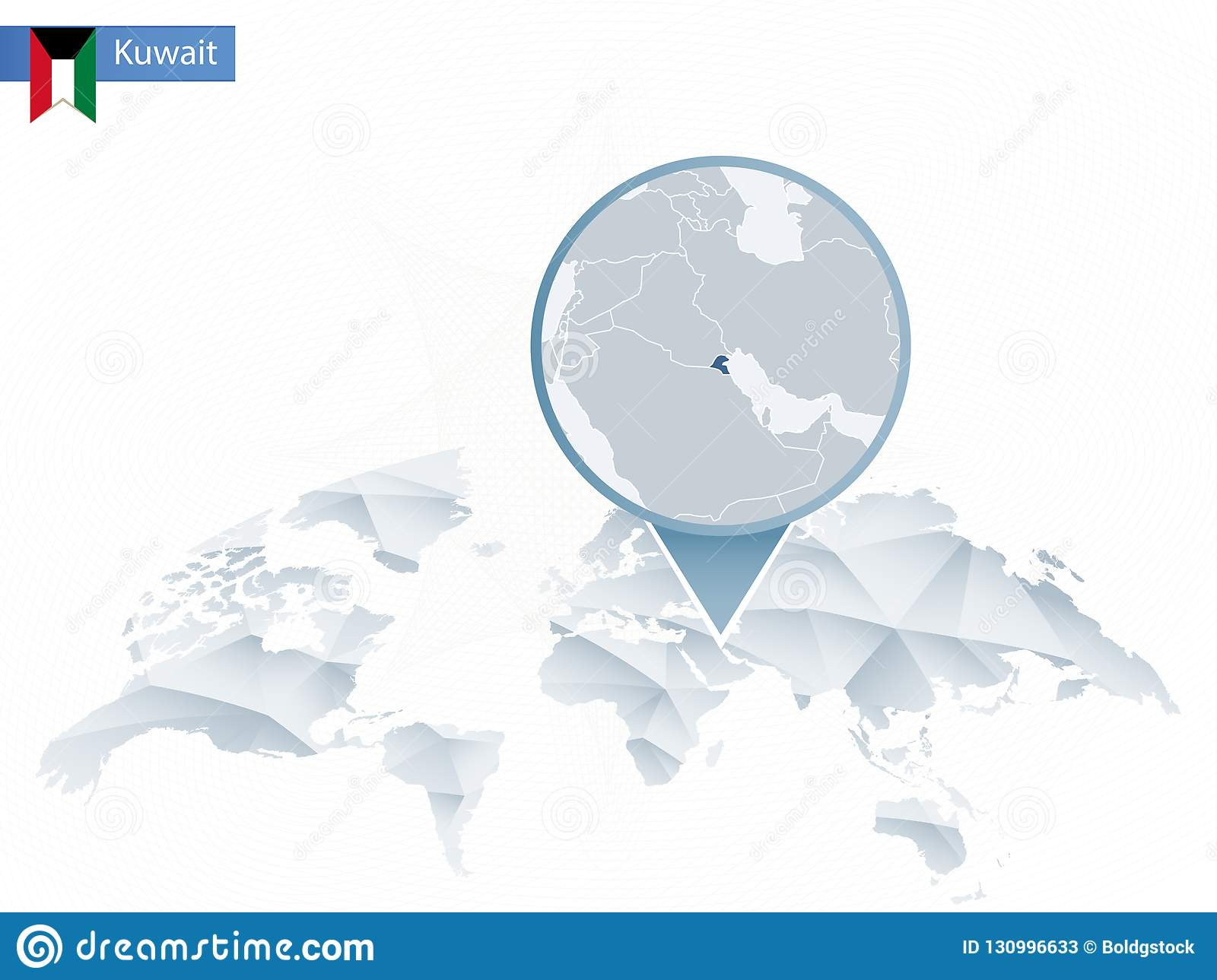 Abstract Rounded World Map With Pinned Detailed Kuwait Map. Stock ...