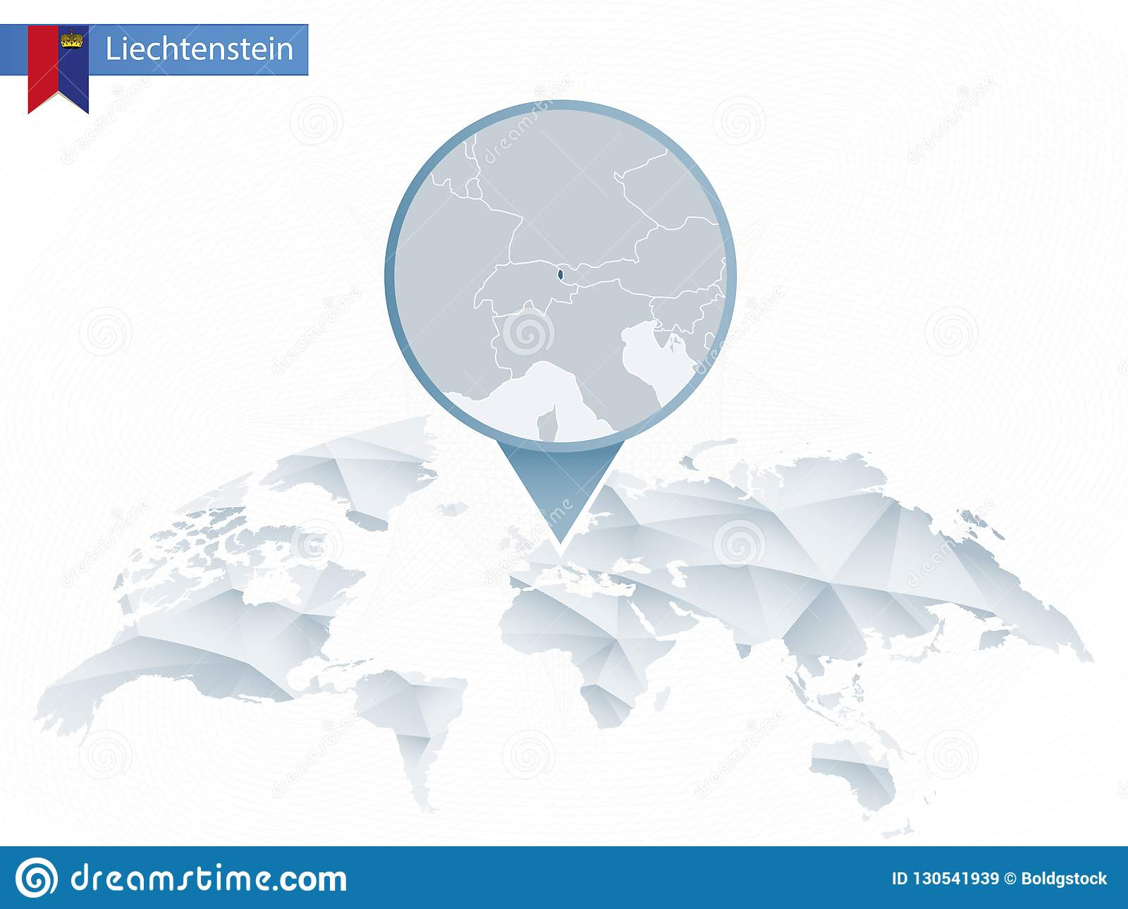 Abstract Rounded World Map With Pinned Detailed Liechtenstein Ma
