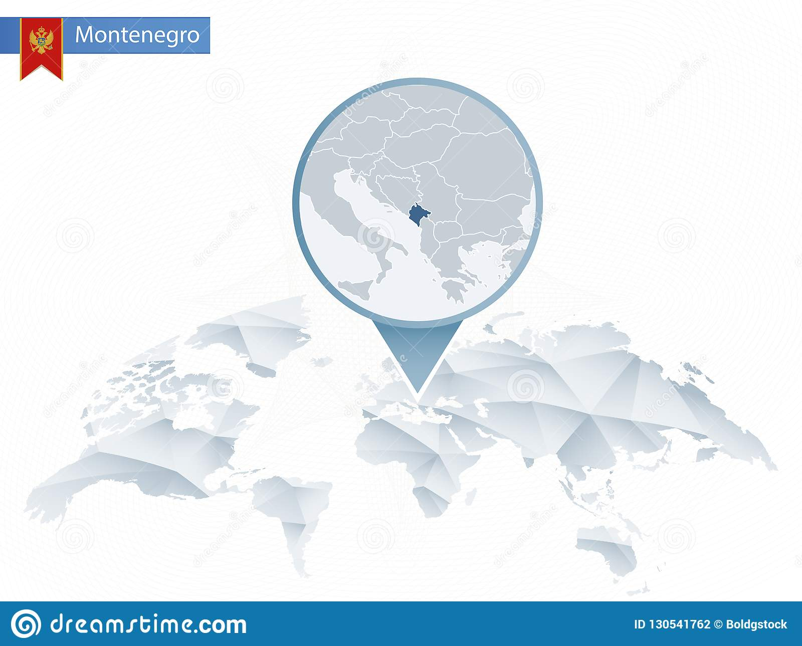 Abstract Rounded World Map With Pinned Detailed Montenegro Map