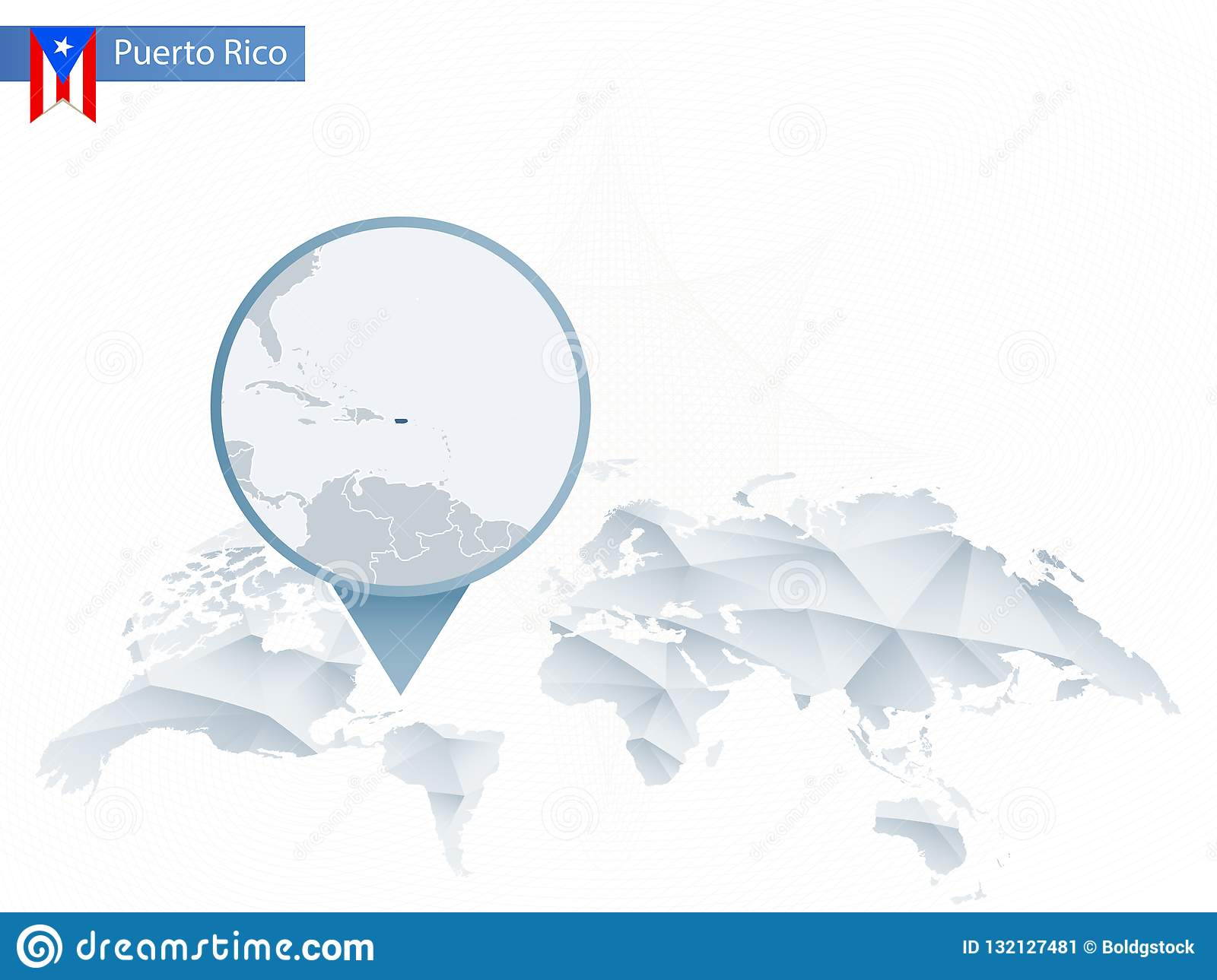 Abstract Rounded World Map With Pinned Detailed Puerto Rico ...