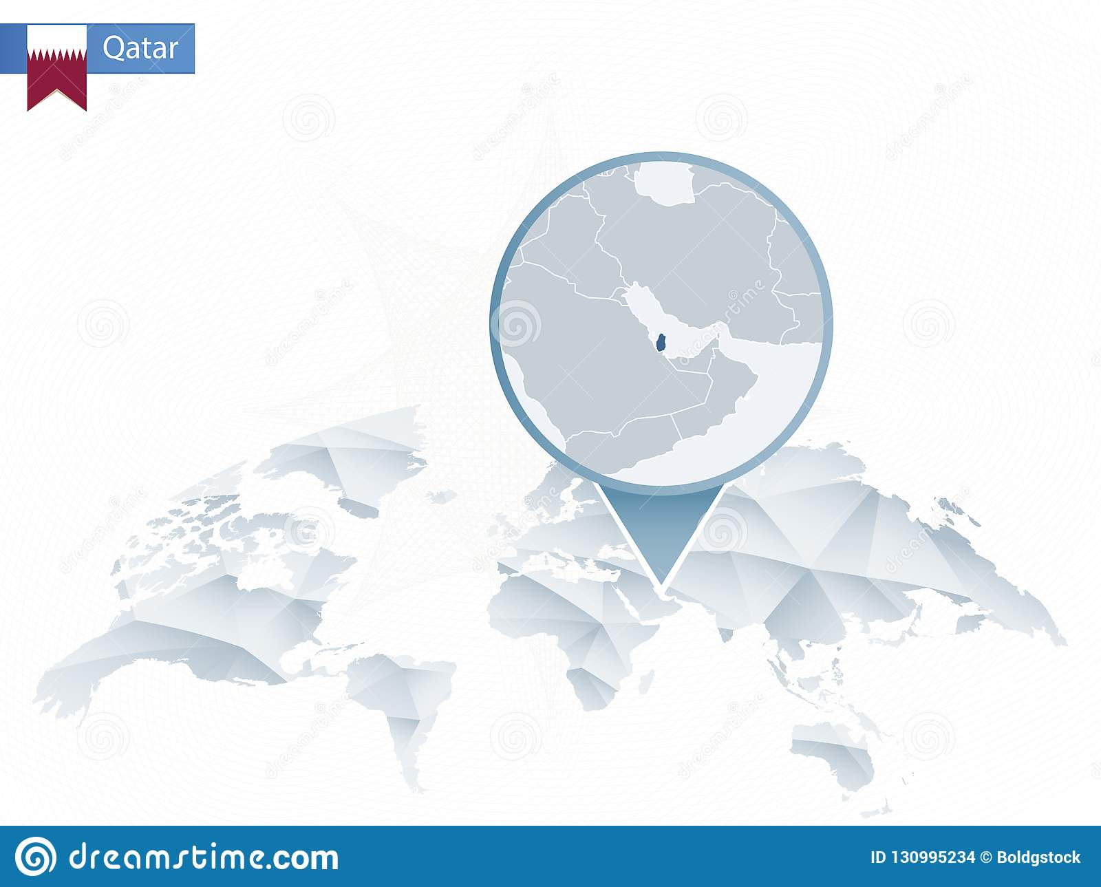 Abstract Rounded World Map With Pinned Detailed Qatar Map ...