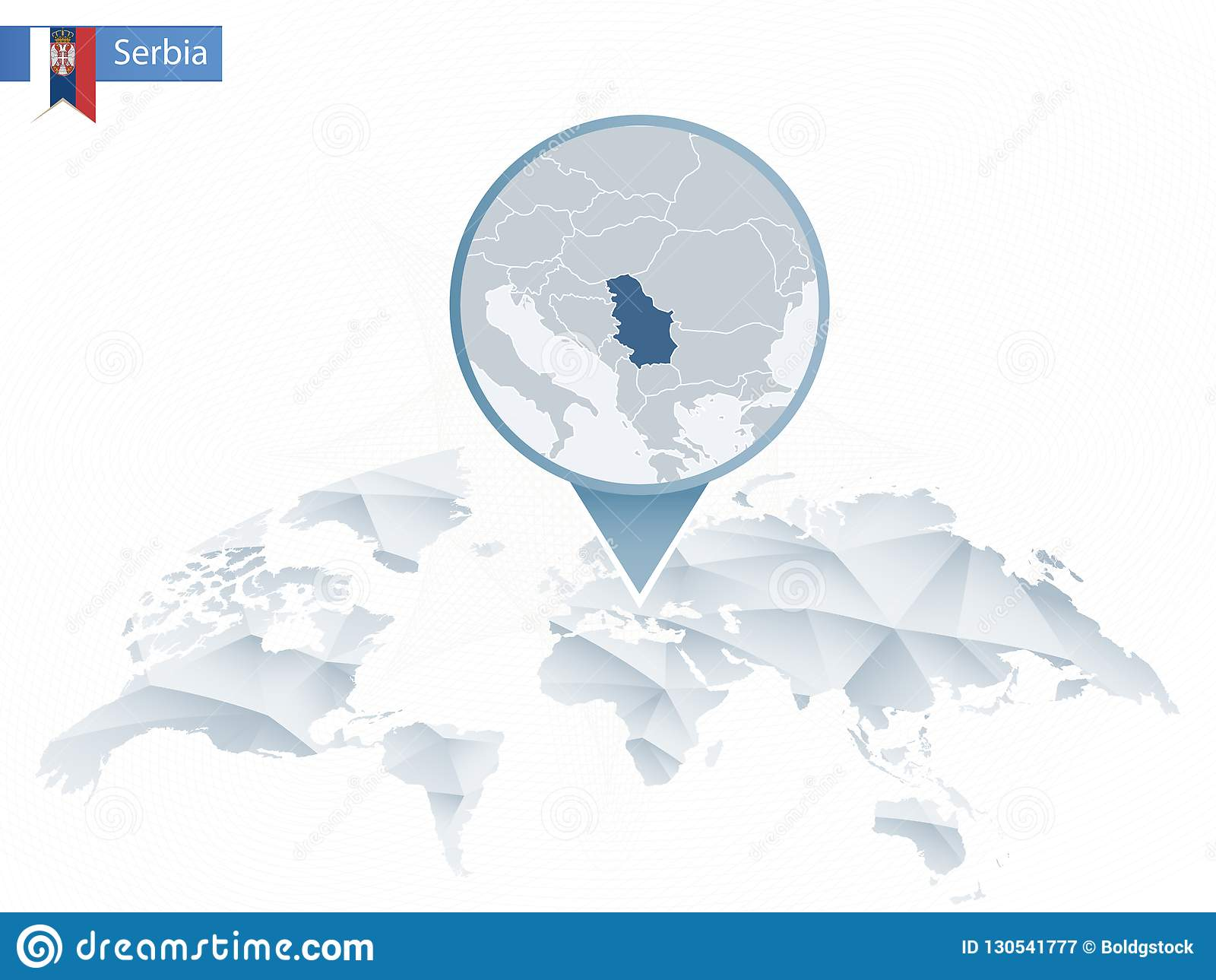 Abstract Rounded World Map With Pinned Detailed Serbia Map Stock