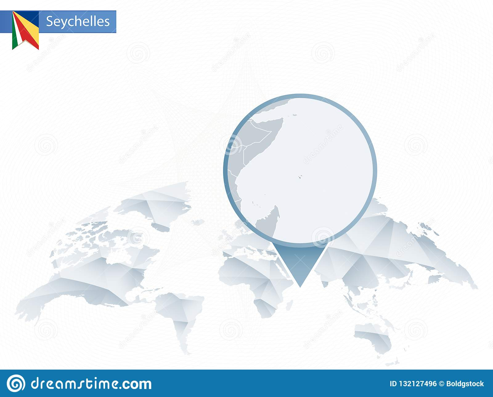 Abstract Rounded World Map With Pinned Detailed Seychelles